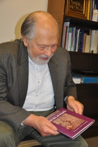 Professor Seyyed H Nasser with canvas of the soul